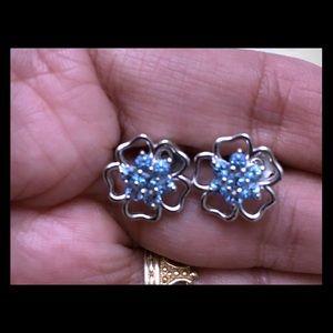 .925 Sterling Blue Topaz Flower Earrings Studs